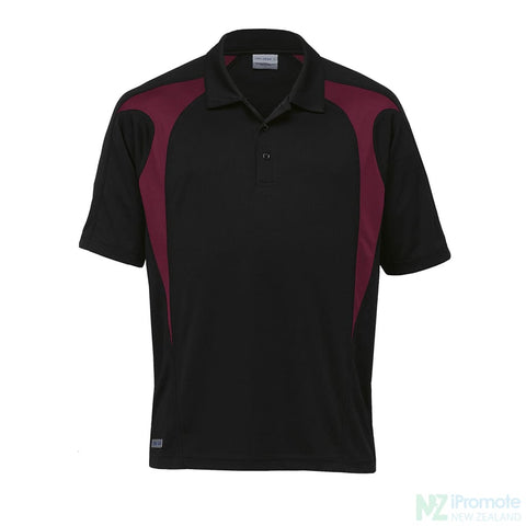 Image of Dri Gear Spliced Zenith Polo Black/maroon Shirts