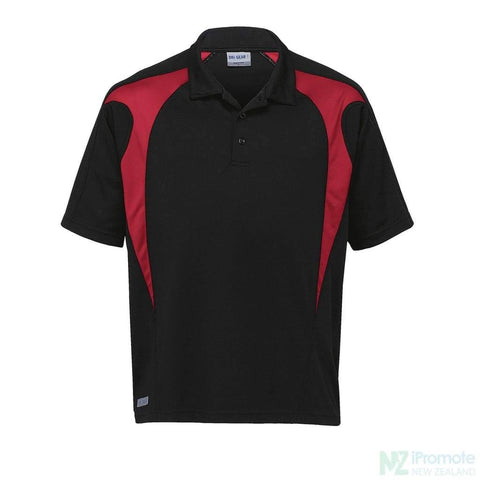 Image of Dri Gear Spliced Zenith Polo Black/red Shirts