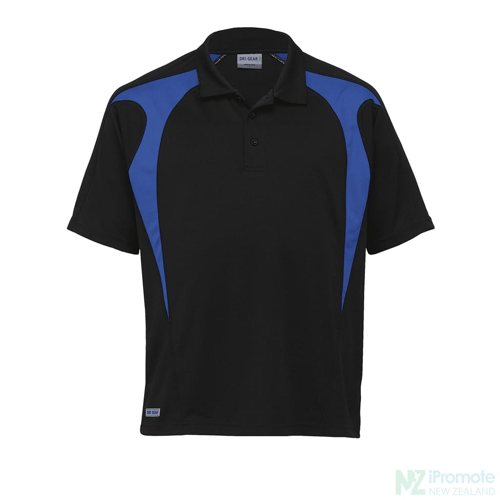 Dri Gear Spliced Zenith Polo Black/royal Shirts