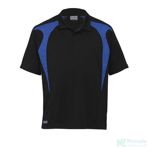 Image of Dri Gear Spliced Zenith Polo Black/royal Shirts