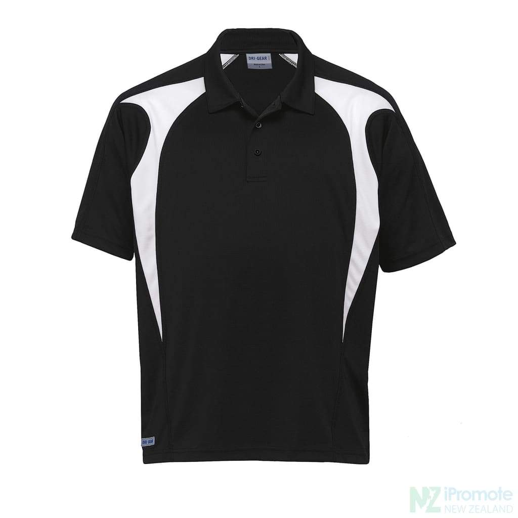 Dri Gear Spliced Zenith Polo Black/white Shirts