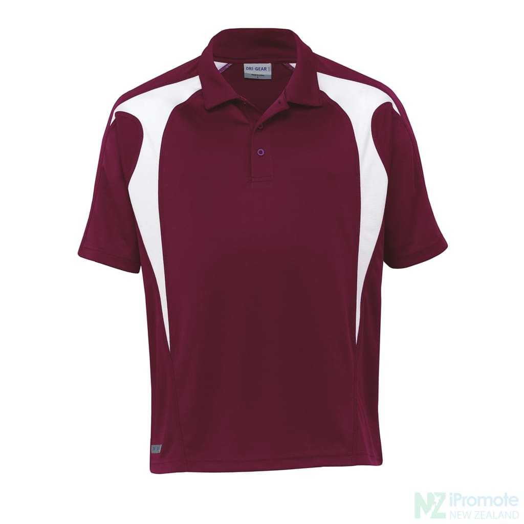 Dri Gear Spliced Zenith Polo Maroon/white Shirts