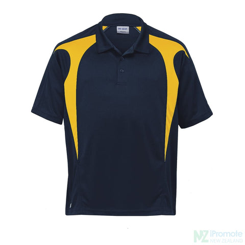 Image of Dri Gear Spliced Zenith Polo Navy/gold Shirts