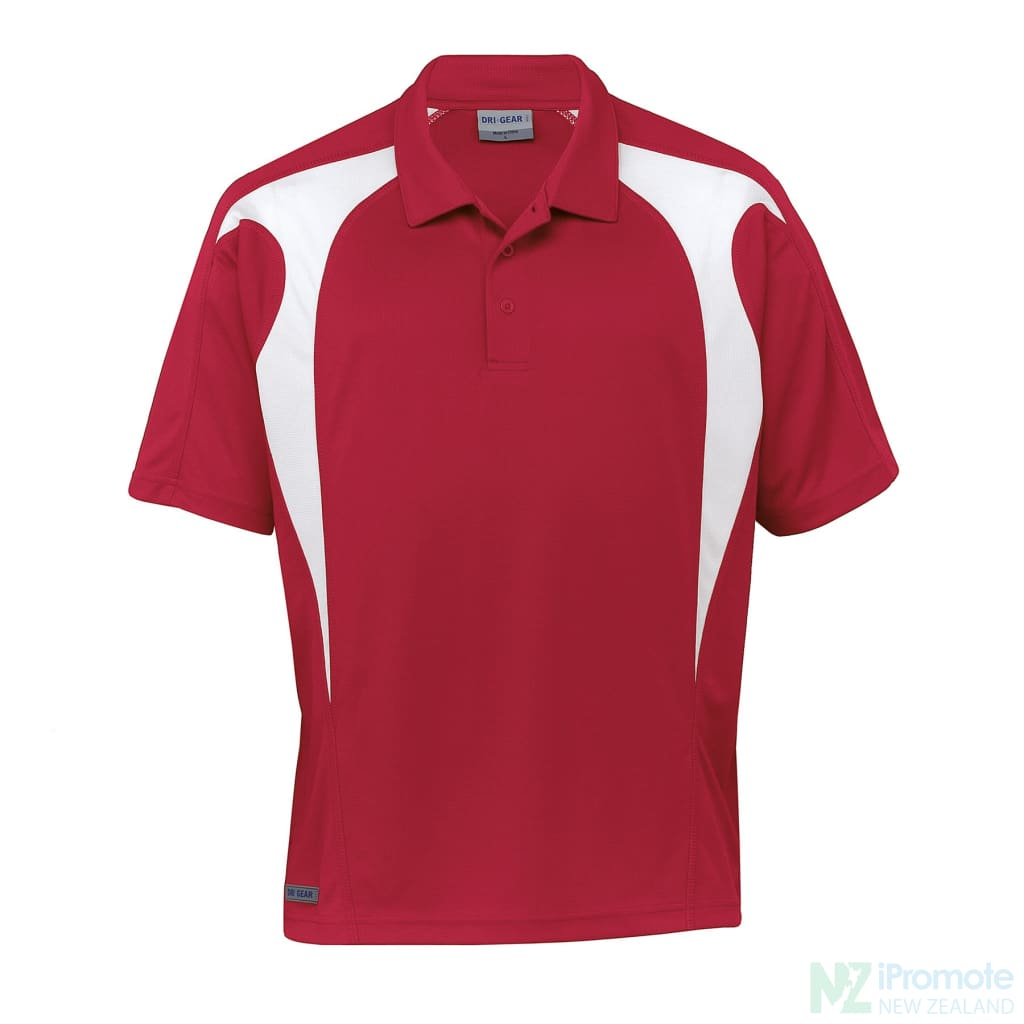 Dri Gear Spliced Zenith Polo Red/white Shirts