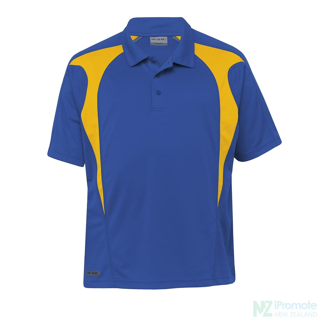 Dri Gear Spliced Zenith Polo Royal/gold Shirts