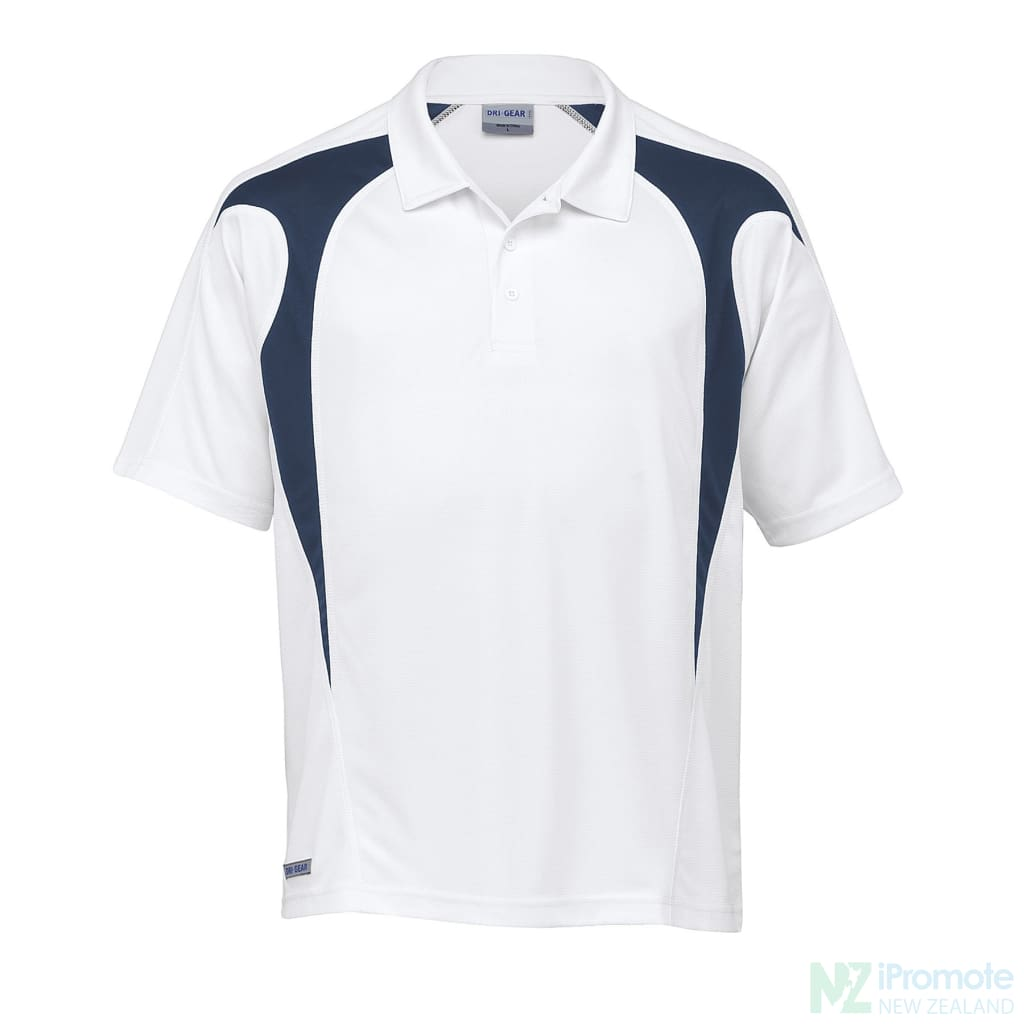 Dri Gear Spliced Zenith Polo While/navy Shirts