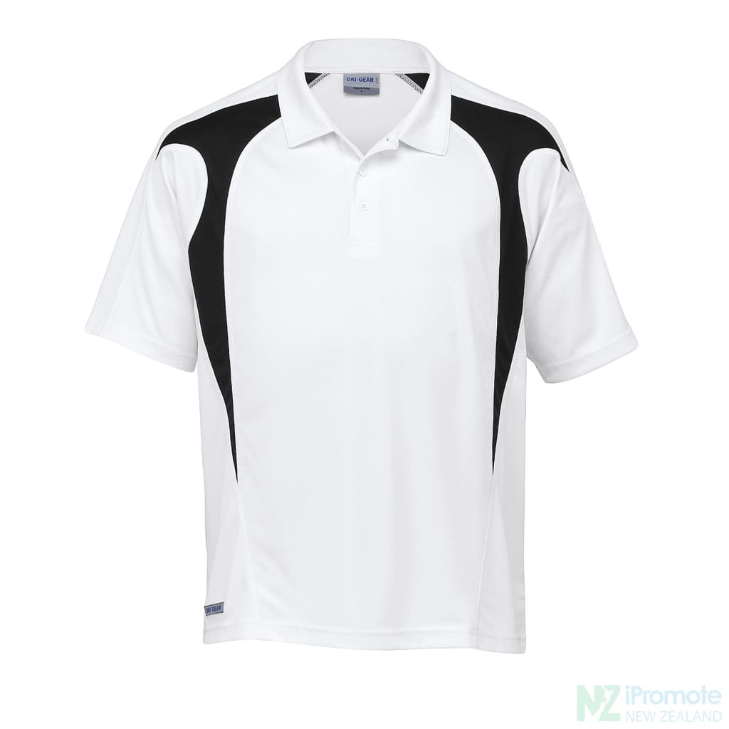 Dri Gear Spliced Zenith Polo White/black Shirts