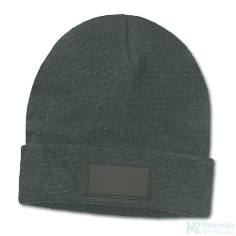 Everest Beanie With Patch Dark Grey Beanies