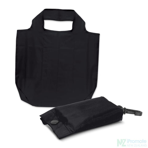 Image of Fold Away Reusable Shopping Bag Black Tote Bags