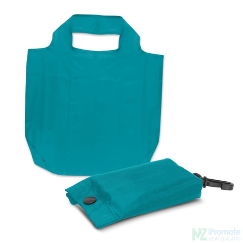 Image of Fold Away Reusable Shopping Bag Light Blue Tote Bags
