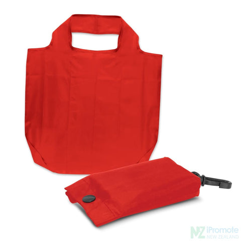 Image of Fold Away Reusable Shopping Bag Red Tote Bags