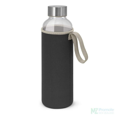 Image of Glass Drink Bottle With Neoprene Sleeve Black