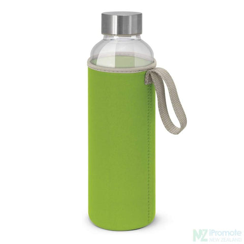 Image of Glass Drink Bottle With Neoprene Sleeve Bright Green