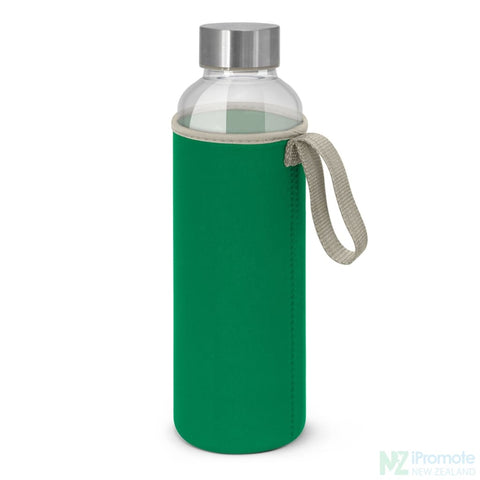 Image of Glass Drink Bottle With Neoprene Sleeve Dark Green