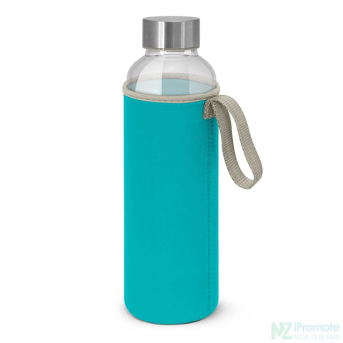 Image of Glass Drink Bottle With Neoprene Sleeve Light Blue