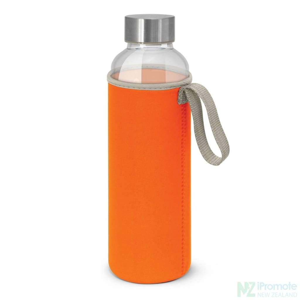 Glass Drink Bottle With Neoprene Sleeve Orange