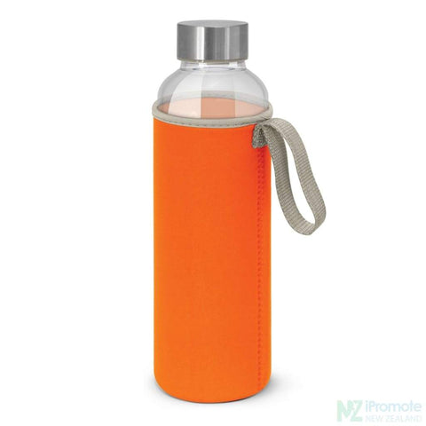 Image of Glass Drink Bottle With Neoprene Sleeve Orange
