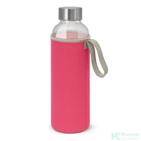 Image of Glass Drink Bottle With Neoprene Sleeve Pink