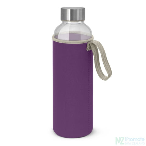 Image of Glass Drink Bottle With Neoprene Sleeve Purple