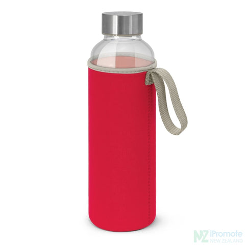 Glass Drink Bottle With Neoprene Sleeve Red