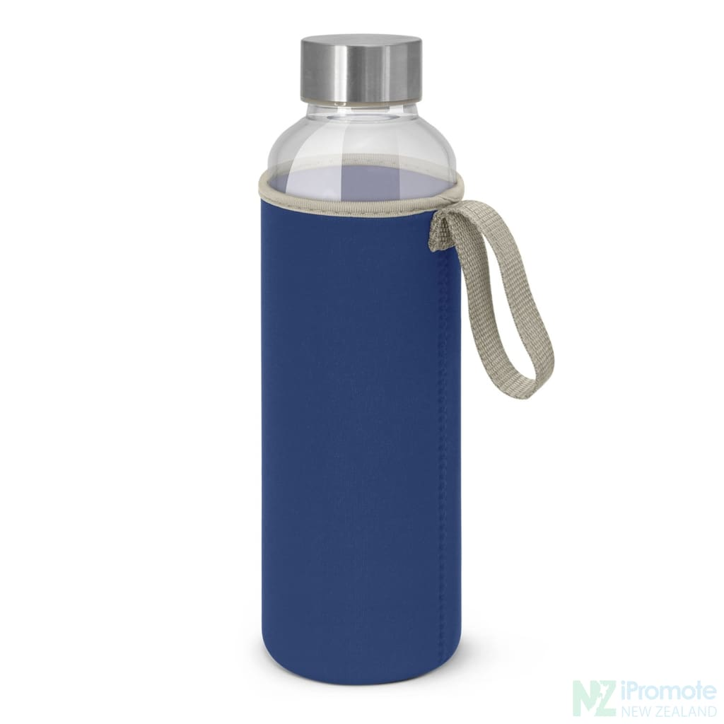 Glass Drink Bottle With Neoprene Sleeve Royal Blue