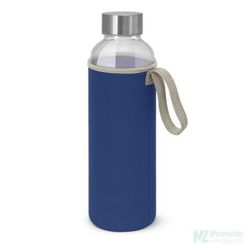Image of Glass Drink Bottle With Neoprene Sleeve Royal Blue