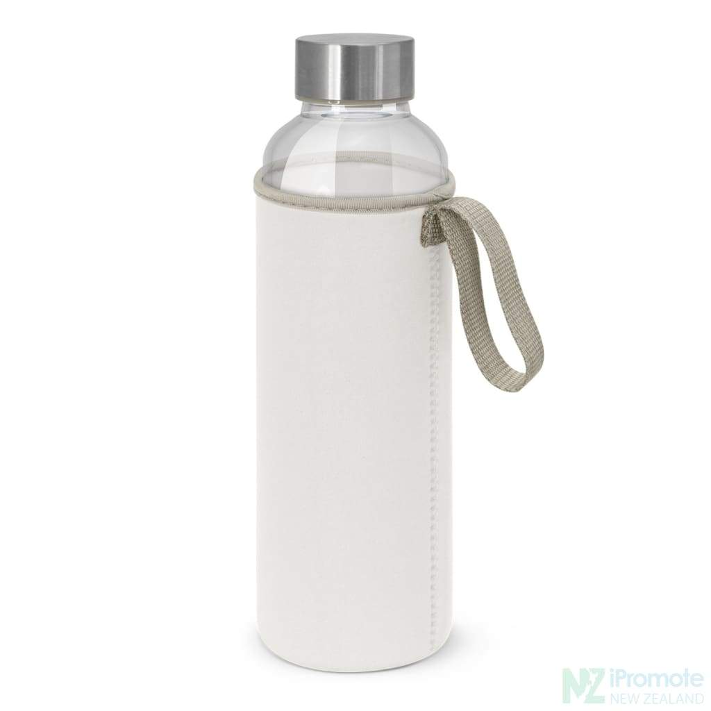 Glass Drink Bottle With Neoprene Sleeve White