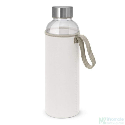 Image of Glass Drink Bottle With Neoprene Sleeve White