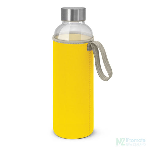 Image of Glass Drink Bottle With Neoprene Sleeve Yellow