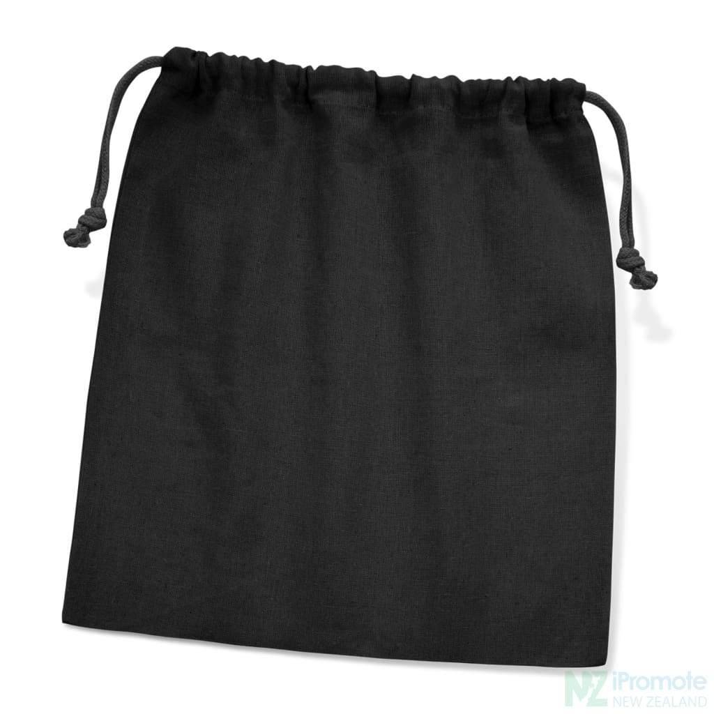 Large Cotton Gift Bag Black Drawstring