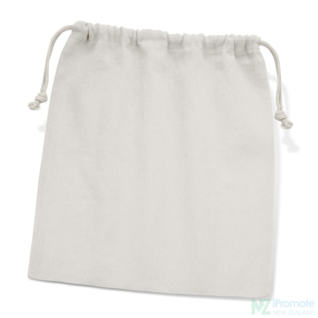 Large Cotton Gift Bag White Drawstring