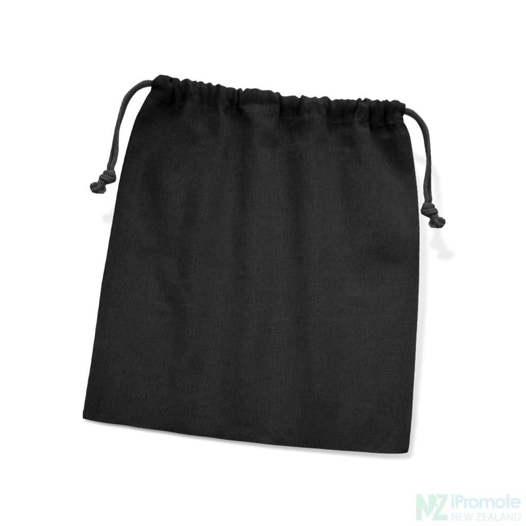 Medium Sized Cotton Drawstring Gift Bag Black