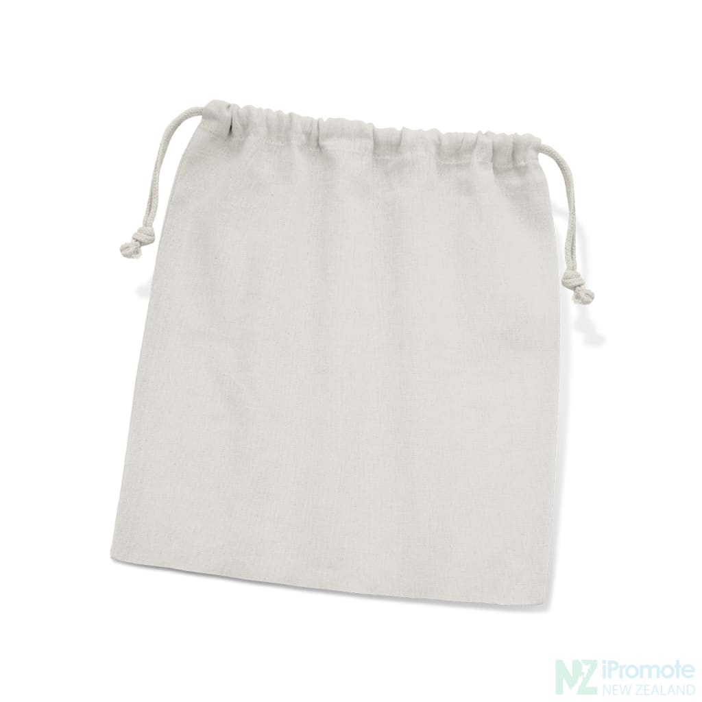 Medium Sized Cotton Drawstring Gift Bag White