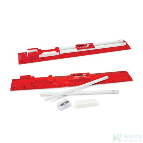 Multi Function 5-1 30Cm Ruler Red Stationary Products