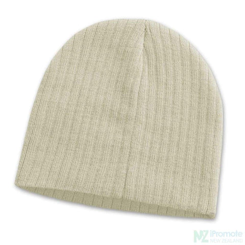 Image of Nebraska Cable Knit Beanie Beige Beanies