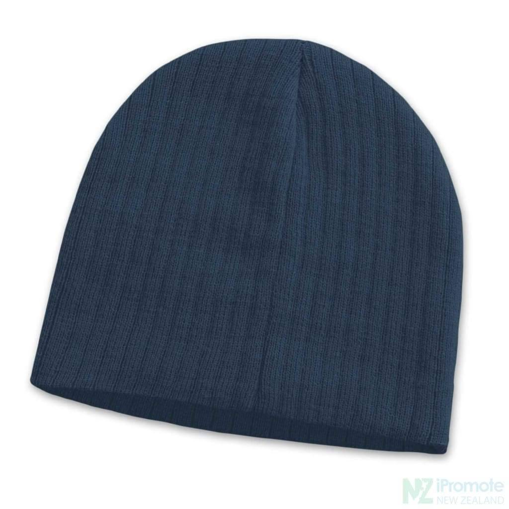 Nebraska Cable Knit Beanie Navy Beanies