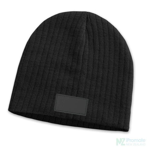 Image of Nebraska Cable Knit Beanie With Patch Black Beanies