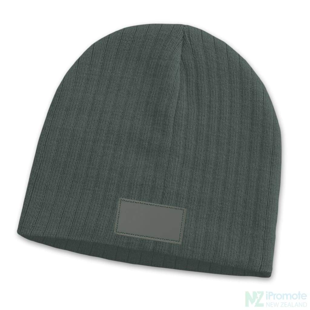 Nebraska Cable Knit Beanie With Patch Dark Grey Beanies