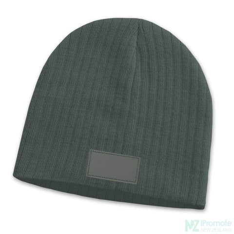Image of Nebraska Cable Knit Beanie With Patch Dark Grey Beanies