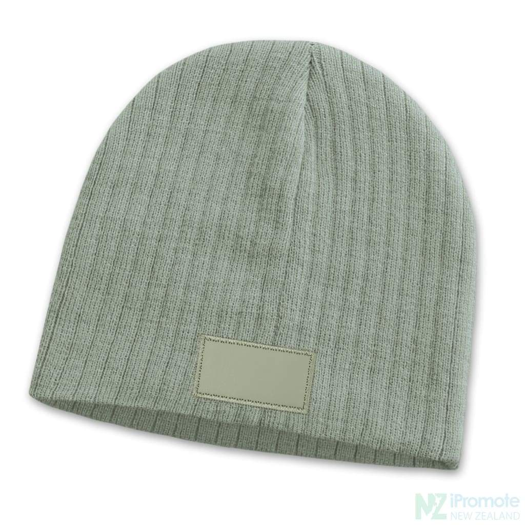 Nebraska Cable Knit Beanie With Patch Light Grey Beanies