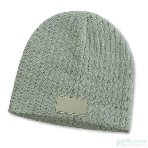 Image of Nebraska Cable Knit Beanie With Patch Light Grey Beanies