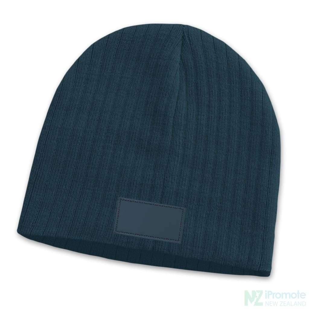 Nebraska Cable Knit Beanie With Patch Navy Beanies