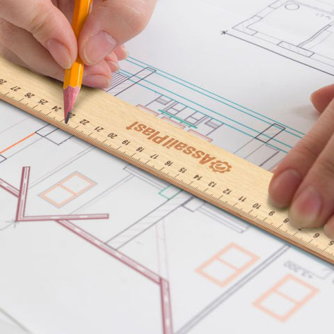 Image of Eco friendly Wooden 30cm Ruler with Burnt Laser Engraving