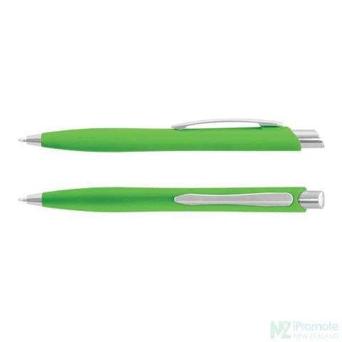 Image of Soft Touch Business Pen Bright Green Plastic Promotional Pens