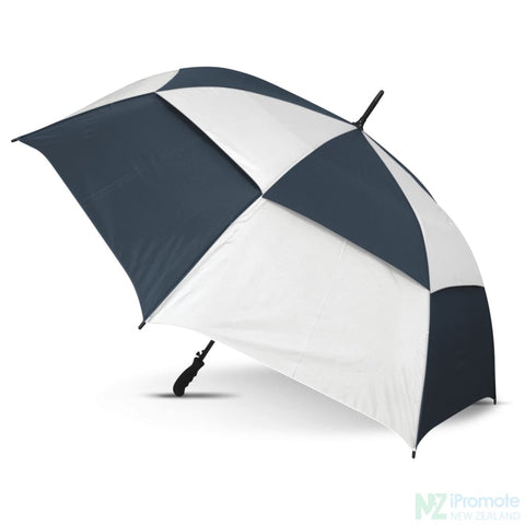 Image of Trident Umbrella With Coloured Panels White/navy Umbrellas
