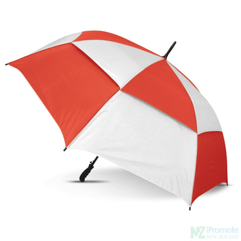 Trident Umbrella With Coloured Panels White/red Umbrellas