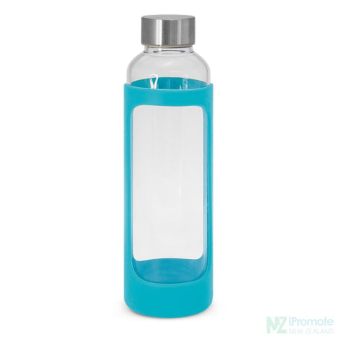 Venus Drink Bottle With Silicone Sleeve Light Blue Glass