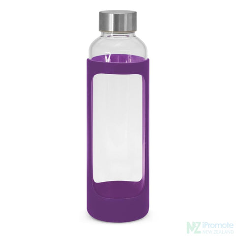Venus Drink Bottle With Silicone Sleeve Purple Glass