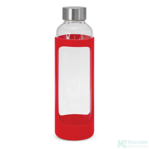 Venus Drink Bottle With Silicone Sleeve Red Glass