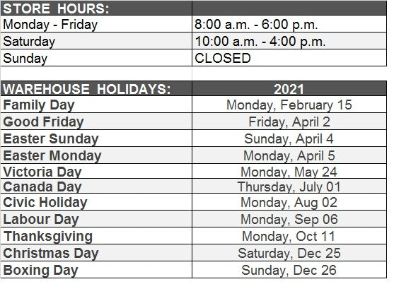 Bulk Mart warehouse hours and holiday Closures